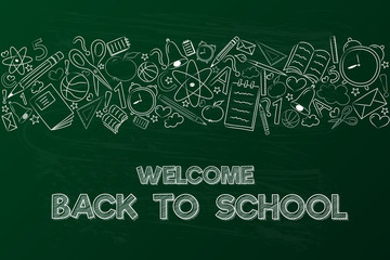 School poster with funny doodles and calligraphy. Vector.