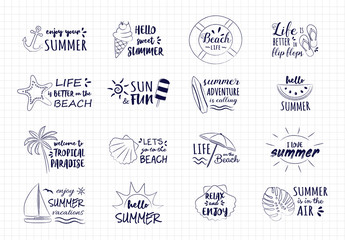 Hand drawn summer icons - big collection with funny text. Vector.