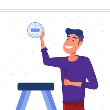 A man sets up smart smoke detection system on the wall. Smoke, CO, gas, fire and carbon monoxide alarm as smart house and internet of things concept. Vector flat design illustration.