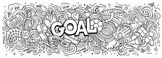 Cartoon cute doodles Goal word