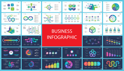 Inforgraphic diagram design set can be used for business project, for annual report, web design. Startup concept. Option chart, process chart, timeline, donut chart, bar graph, percentage diagram Wall mural