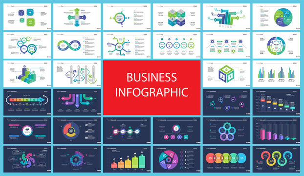 Inforgraphic diagram design set can be used for business project, for annual report, web design. Startup concept. Option chart, process chart, timeline, donut chart, bar graph, percentage diagram
