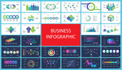 Set of company structure and workflow concept infographic charts. Business diagrams for presentation slide templates. For corporate report, advertising, banner and brochure design.