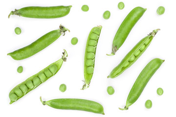 Fresh green pea pod isolated on white background with copy space for your text. Top view. Flat lay pattern
