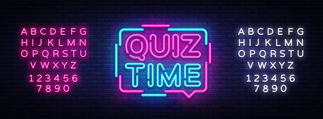 Quiz Time announcement poster neon signboard vector. Pub Quiz vintage styled neon glowing letters shining, Light Banner, Questions team game.Vector illustration. Editing text neon sign