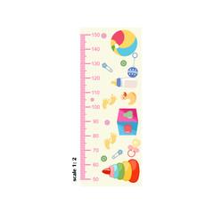 Measure growth, meter, children's elements, growth. Vector illustration.