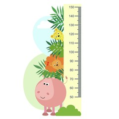 Growth measure, animals in tropical leaves, children's measurements, height . Vector illustration.