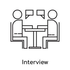 Interview icon vector sign and symbol isolated on white background, Interview logo concept