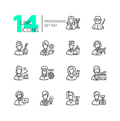 Professions - set of line design style icons
