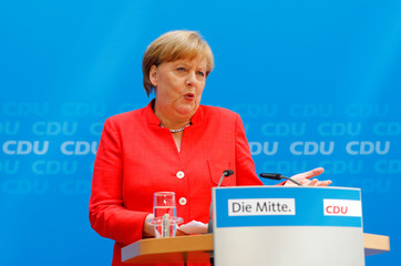German Chancellor Merkel attends a press conference after the board meeting of CDU in Berlin