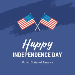 Happy Independence Day card with two American Flags. Flat vector patriotic 4th of July illustration