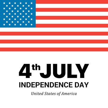 Big American Flag on white background with Independence Day words. Flat vector patriotic 4th of July illustration card