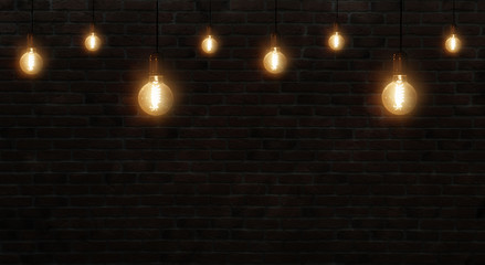 brick wall background with lamps, retro, dark background