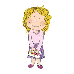 Cute happy little girl with blonde curly hair is standing, smiling and holding a picture of princess - original hand drawn illustration.