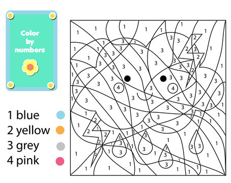 Children educational game. Coloring page with cute cloud. Color by numbers, printable activity, worksheet for toddlers and pre school age