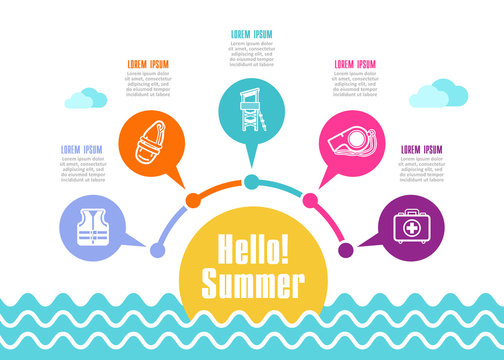 Summer icon . Summertime, vacation infographics