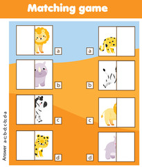 Matching children educational game. Match african animals halves. Activity for pre shool years kids and toddlers