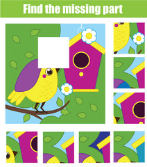 Puzzle for toddlers. Find the missing part of picture. Educational children game animals theme