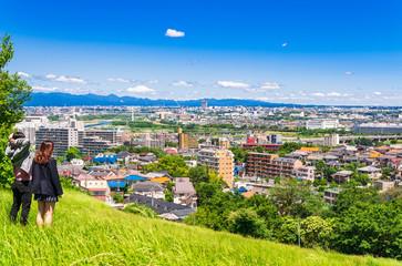 緑の丘から眺める住宅街