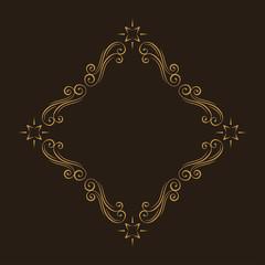 Floral filigree design element. Calligraphic frame. Swirls, Curls, Waves. Flourish border. Wedding invitation, Save the date card design. Vector.