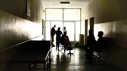 021 Silhouettes Of Medical Workers And Patients In Waiting Room At Hospital People Sitting Hallway