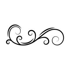 Calligraphic decorative swirl. Flourish scroll, floral wave. PAge divider, filigree border. Book decor. Greeting card, Wedding invitation design. Vector.