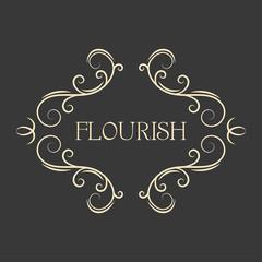Flourish filigree calligraphic frame. Page scroll decoration, Ornamental antique borders. Design element. Save the date, Wedding invitation design. Vector.