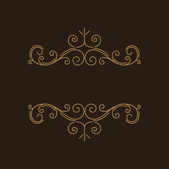 Flourish vintage page decorations. Swirls, scroll elements. Floral filigree pattern. Certificate design, Wedding invitation, Menu design. Vector.