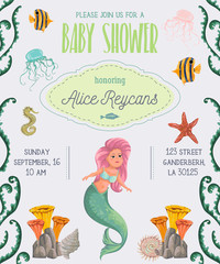 Baby shower invitation with mermaid, marine plants and animals. Cartoon sea flora and fauna in watercolor style. Vector illustration