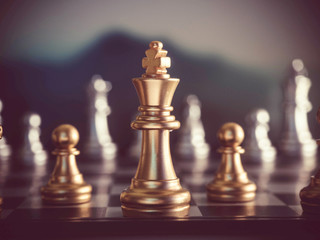 Chess game on board for business concept