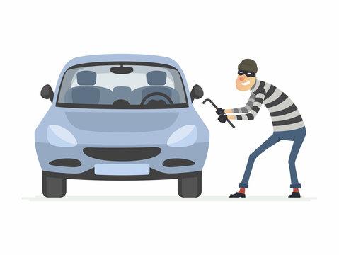 Car thief - cartoon people characters illustration