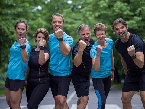 portrait of runners team on morning training