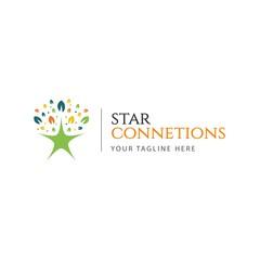 Star Connection Logo Vector Template Design Illustration