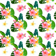 Tropical seamless pattern with bouquet of monstera leaves, hibiscus, plumeria . Fashionable plant illustration. Summer background. It's perfect for textile and wrapping paper.