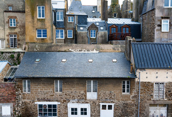 France. Brittany. Saint Malo. A view from above of the ancient Breton city architecture on a summer day.