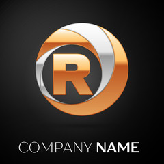 Letter R logo symbol in the golden-silver colorful circle on black background. Vector template for your design