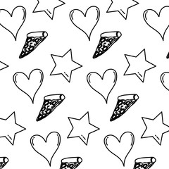 line delicious pizza with heart and star background