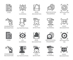 Set of biometric buttons. 10 icons in linear and glyph designs. Authorization, identification and verification symbols. Fingerprint recognition, eye and palm scanning, face and voice authentication