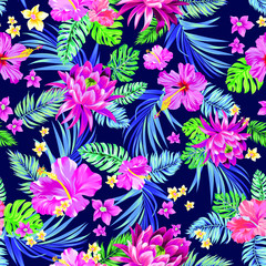 seamless tropical design with hibiscus, lotus, palm leaves, ficus, monstera and other exotic plants.