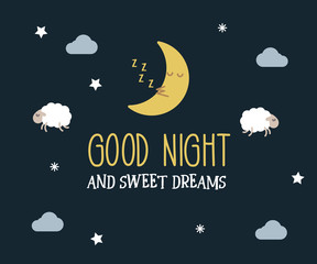 Good Night and sweet dreams cute vector card. Editable illustration with message, cute lambs and moon, clouds and stars.