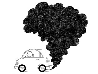 Vector artistic pen and ink drawing illustration of smoke coming from car exhaust into air. Environmental concept of pollution.