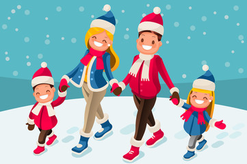 Merry Christmas illustration or happy new year card. Family of isometric people cartoon. Winter flat vector design.