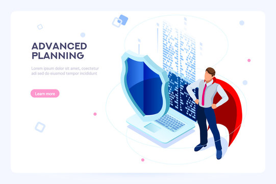 Secure hard data base. Security and anti-virus protection. Center or datacenter network. Industry of telecommunication. Hosting net or database concept. Flat isometric images, vector illustration.