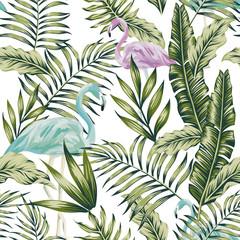 Pastel green jungle blue flamingo white background