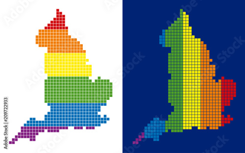 Geographic Map Of England.Dot Lgbt England Map Variants Vector Geographic Schemes In Spectrum