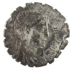 Roman Republic Coin. Ancient Roman silver denarius of the family Hosidia. Obverse.