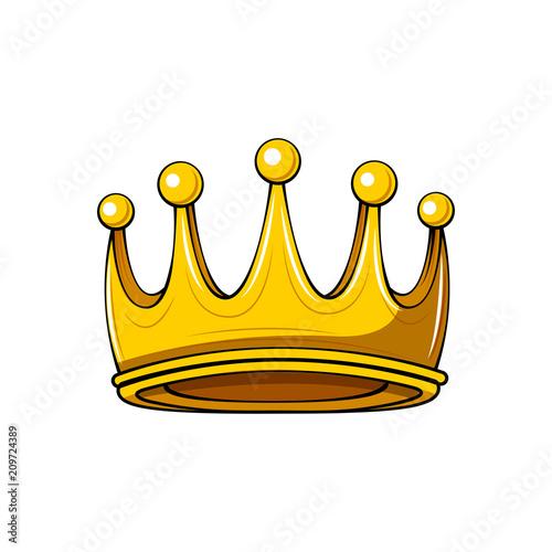 Golden Cartoon Crown Royal Badge King Symbol Queen Sign Design