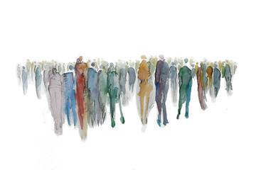 Gruppe von vielen Menschen, Menschenmenge, Menschen in der Stadt, Silhouette, gemalt mit Aqurell