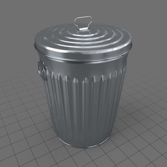 Outdoor metal trash bin