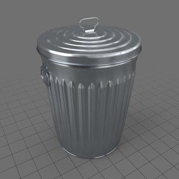 Outdoor metal trash bin